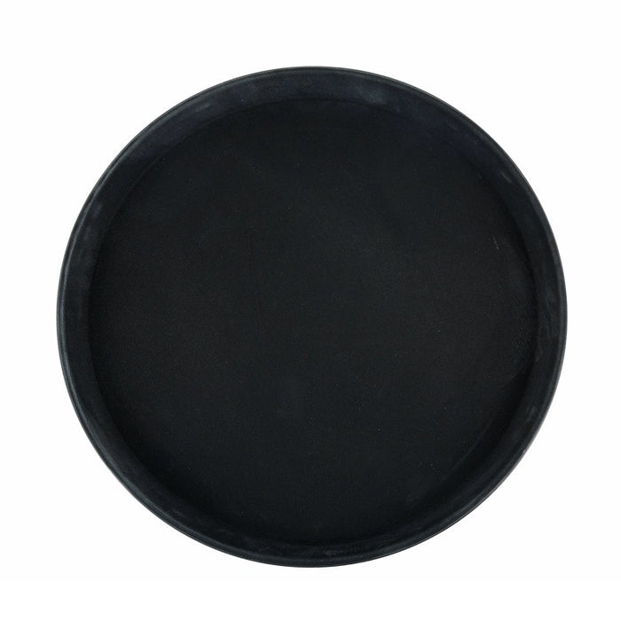 "Winco TRH-14K Easy-Hold Tray 14"" Round Rubber Lined Plastic Black"