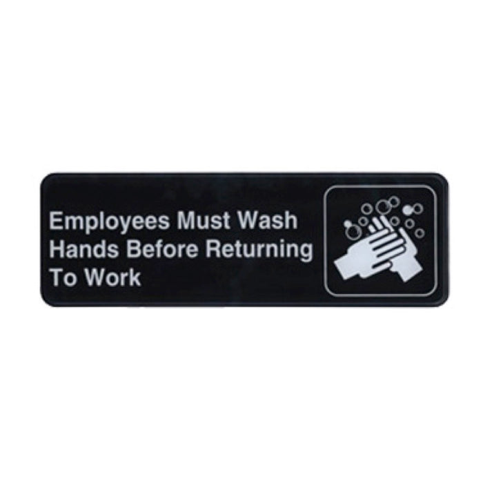 "Winco SGN-322 Employee Wash Sign With Symbol 9"" x 3"""