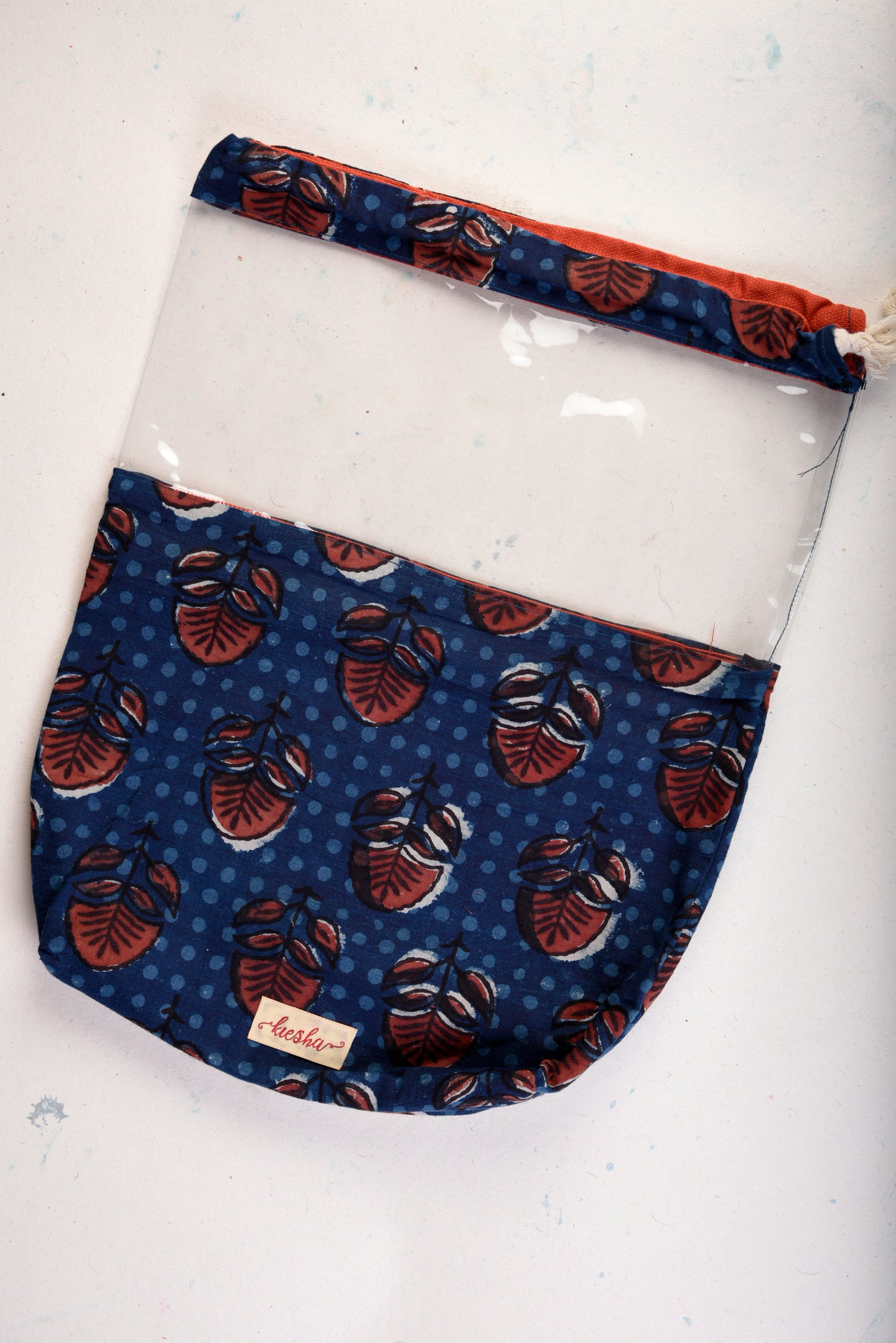 Shoe Bag Blue Block Print