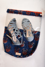 Load image into Gallery viewer, Shoe Bag Blue Block Print