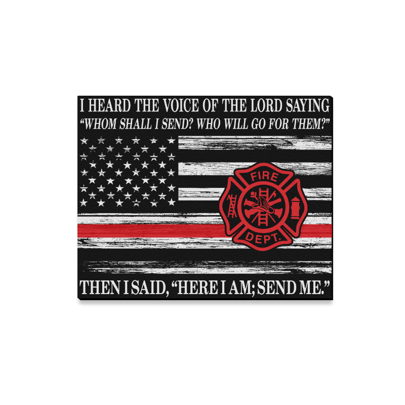"The Voice Of The Lord - Firefighter Framed Canvas Print 20""x16"" (Made In USA)"