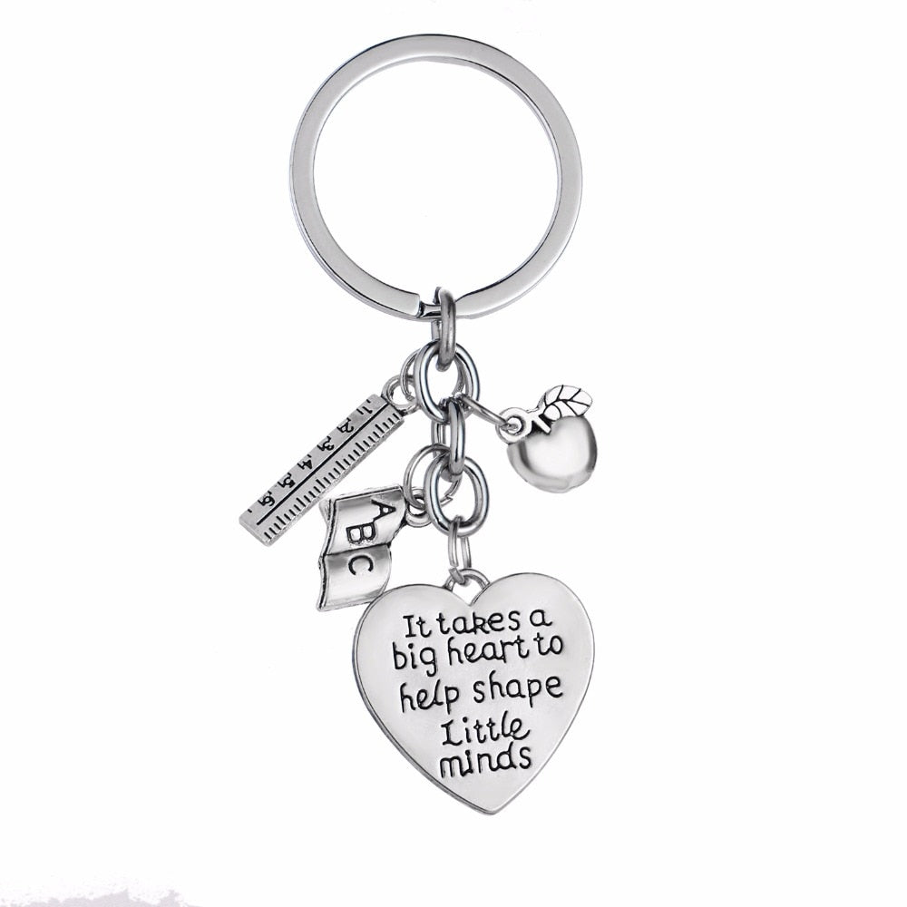 12PC/Lot It Takes A Big Heart To Help Shape Little Minds Keychain Apple Ruler ABC Book Charms Keyring Teachers Key Chains Gifts