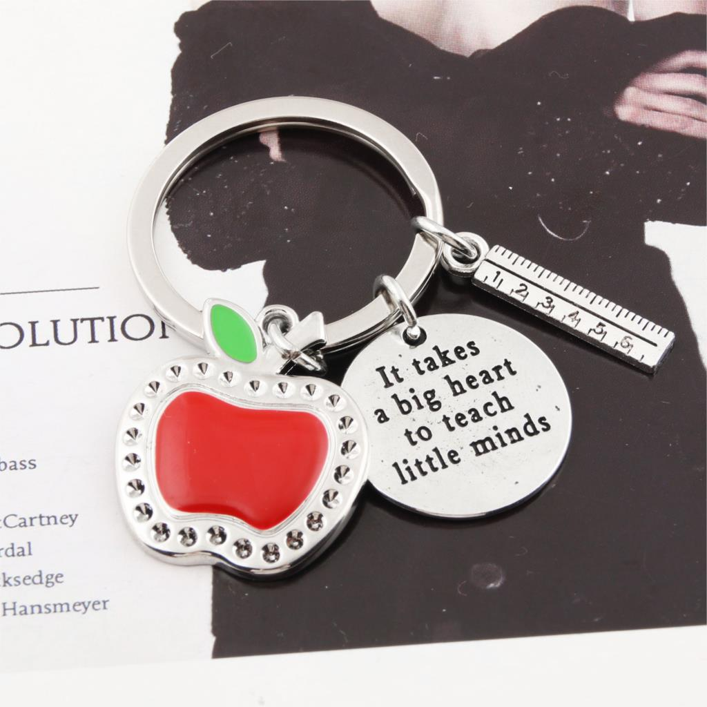 1Pc Red Apple Ruler Heart KeyChain Teachers Day Gift Keyring Graduation For Student Jewelry E2398