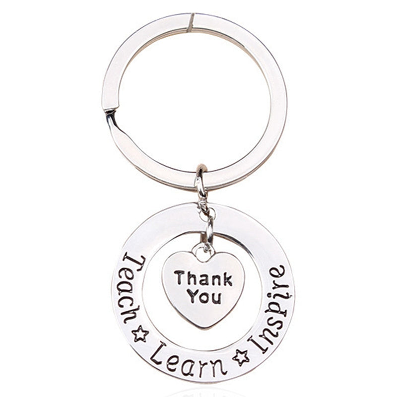 Teacher Keychain Thank you Teach Learn Inspire Keyring Key Ring Jewelry For Teachers Day Gift