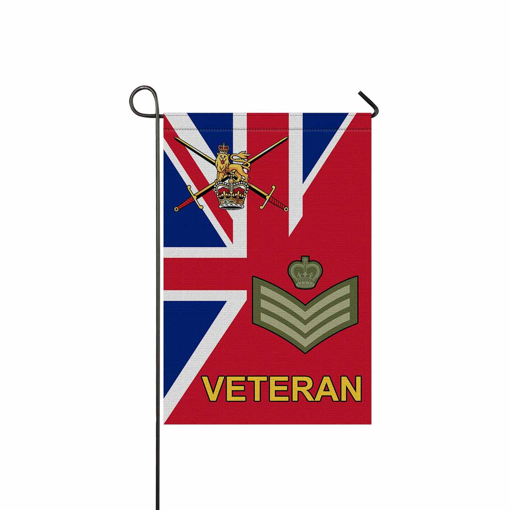 British Army Staff Sergeant Veteran Garden Flag/Yard Flag 12 inches x 18 inches Twin-Side Printing