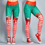 2019 Christmas Printing Leggings Put Hip Elastic High Waist Legging Breathable Merry Christmas Pants
