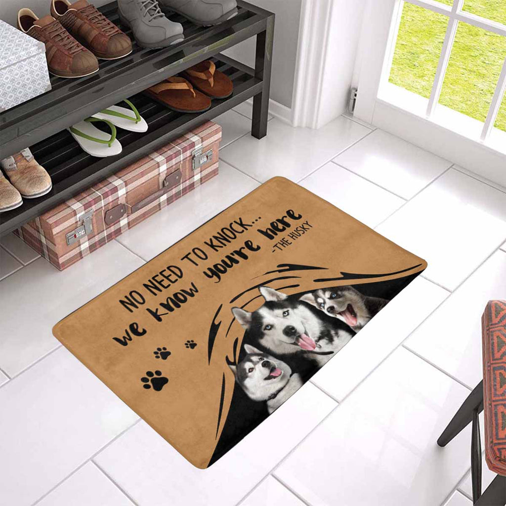 "NO NEED TO KNOCK HUSKY Doormat 23.6"" x 15.7"""