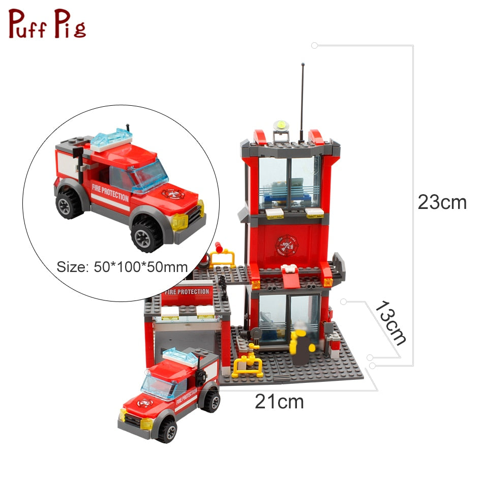 Fire Fighting Station Firefighter Figures Building Blocks Legoingly Police City Enlighten Brick Toys for Children