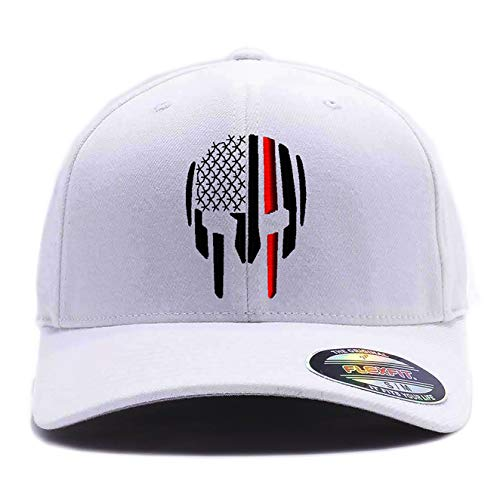 Thin RED LINE - Thin Blue LINE Spartan Helmet Cap. Embroidered. 6477 Flexfit (L/XL, White)