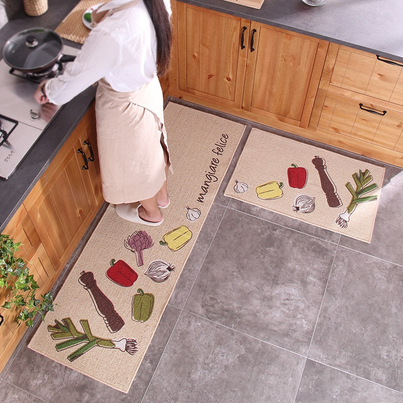 50x80CM+50x160CM Long Kitchen Mats Anti-Skid Suction Oil Polyester Cotton Kitchen Rug Floor Mat 2Pcs/Set