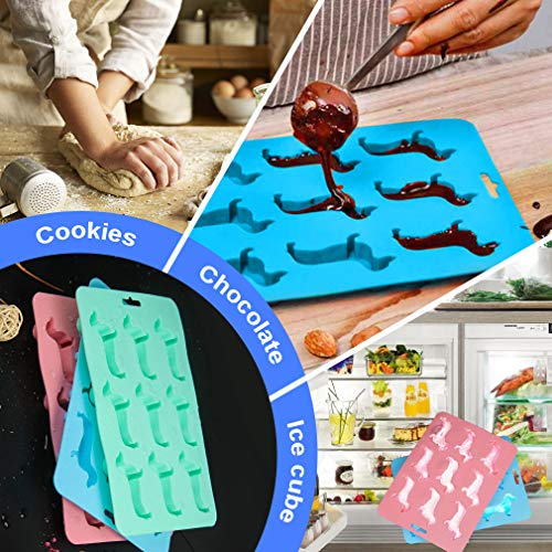 Cute Dachshund Dog Shaped Silicone Ice Cube Trays and Molds BPA Free for Whisky (three color 3 pack)
