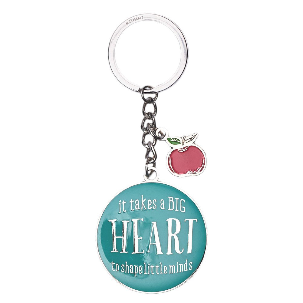 "Blue Blessings to the Teacher ""Big Heart"" Keyring - 1 Corinthians 16:14"
