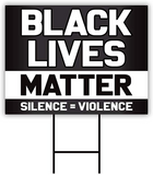 Designs Black Lives Matter 18x24-inch One Sided Yard Sign (Outdoor, Weatherproof Corrugated Plastic) Metal H-Stake Included