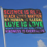 VHHFLG378 Science is Real Black Lives Matter Adjustable Wall Mount Flag Holder Outdoors Indoors Flag 3 by 5-Feet