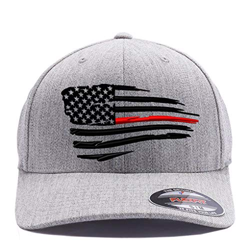 Thin Red Line and Thin Blue line Waving USA Flag. Embroidered, 6477 Wool Blend Cap hat (S/M Heather Grey)