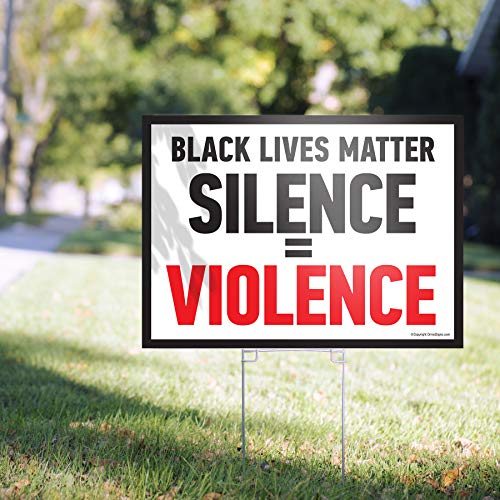 "Black Lives Matter Yard Sign 24"" x 18"" Corrugated Plastic Yard Signs with Stakes H-Frame Ground Stake Sign Holder (Black & Red)"