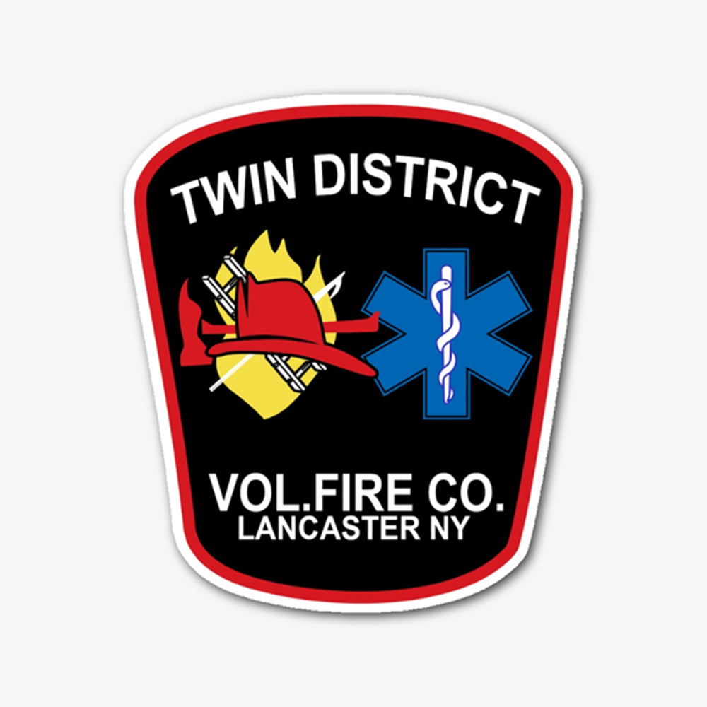 twin dist vol. fire co. lancaster ny Die Cut Vinyl Stickers