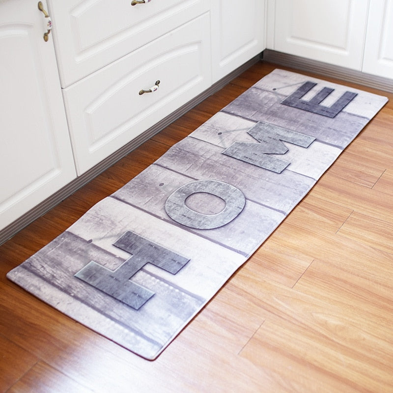 60x180CM Antiskid Mat for Kitchen Floor Long Door Mat Vintage Style Kitchen Rug Non-Slip Bedroom Bedside Mats