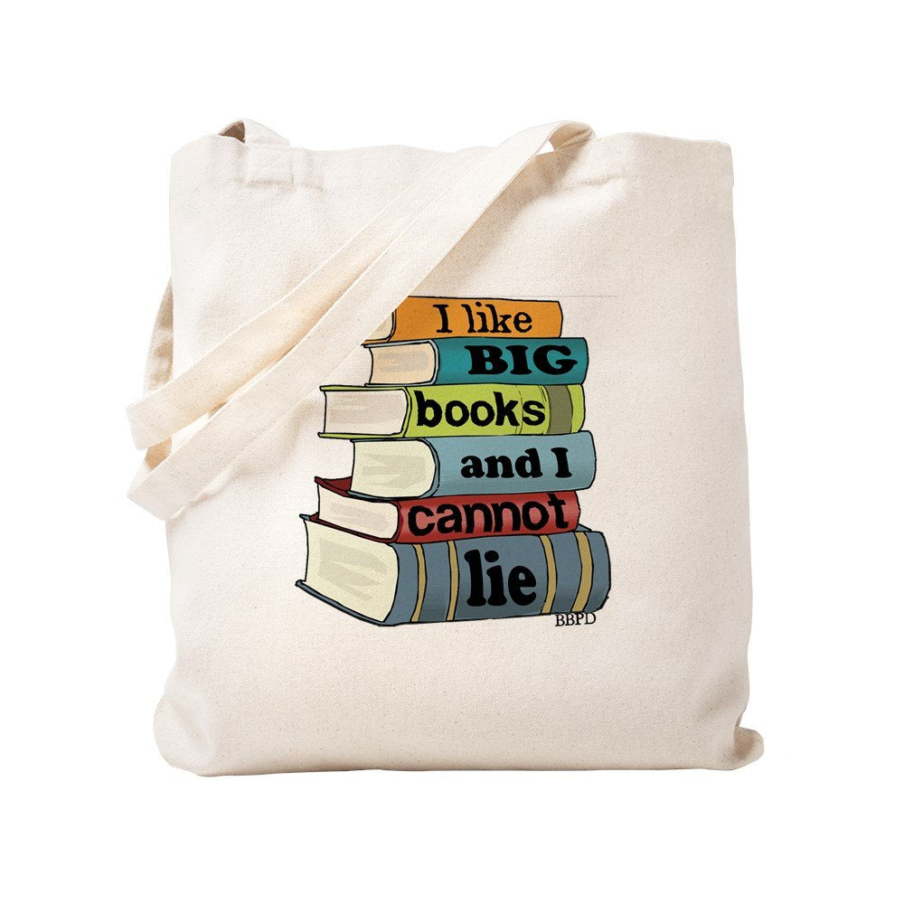 I Like Big Books Natural Canvas Tote Bag, Reusable Shopping Bag