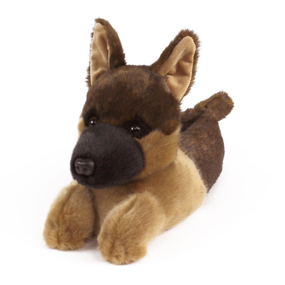 German Shepherd Slippers - Plush Dog Animal Slippers Black and Tan