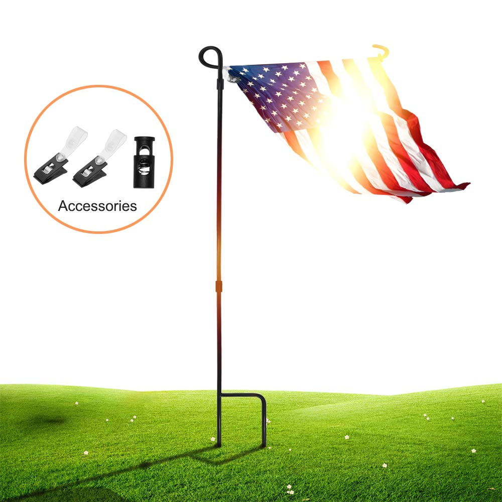 "SSRIVER Garden Flag Stand Pole Holder with Garden Flag Stopper and Anti-Wind Clip 36.22"" H x 16.53"" W for Premium Metal Wrought Iron Powder Coated Weather-Proof Paint Steel (Black FlagPole- 1)"