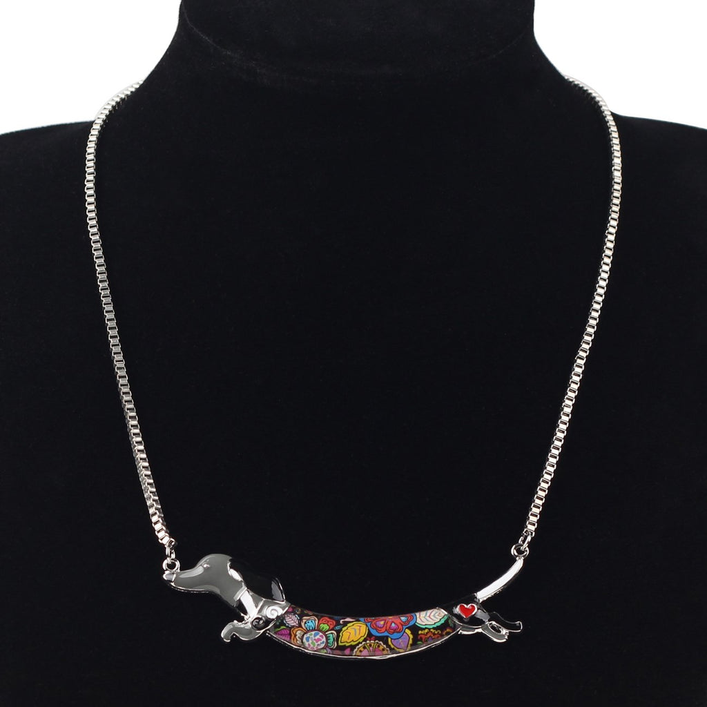 "Dachshund Necklace Dog Animal Pendant 18"" (Grey)"