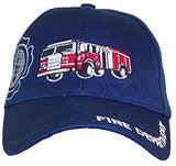 Kid/Child Embroidered Fire Truck Adjustable Hook and Loop Hat (One Size) - Navy