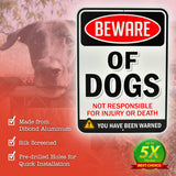 "Beware of Dogs Sign | Funny or Scary | Dibond Aluminum Metal 1/8"" Thick for Indoor / Outdoor"