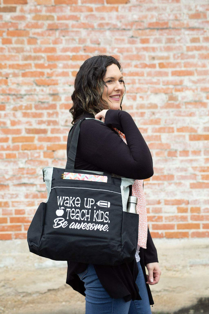 "Teacher Tote Bags with Pockets -""Wake Up. Teach Kids. Be Awesome """