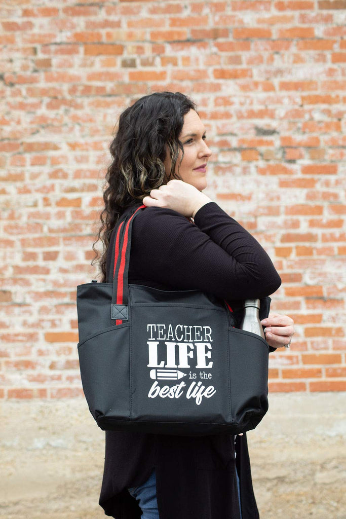 Teacher Life is the Best Life - Large Zippered Teacher Tote Bags with Pockets
