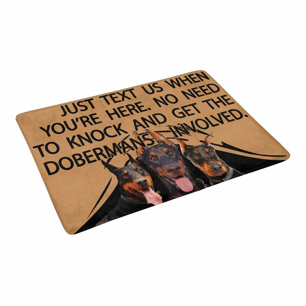 "TO KNOCK AND GET THE DOBERMANS INVOLVED Doormat 23.6"" x 15.7"""