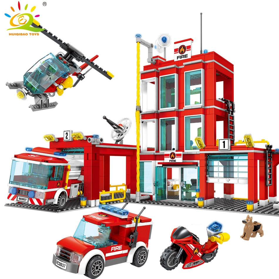 Fire station Building Blocks firefighting Truck Helicopter Firemen figures legoingly City Bricks set Toys For Children