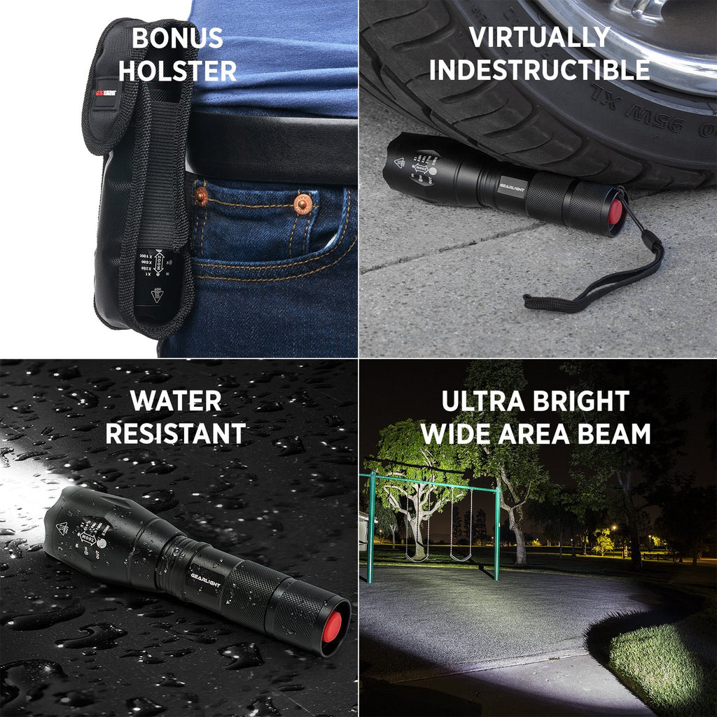 LED Tactical Flashlight S1000 [2 PACK] - High Lumen, Zoomable, 5 Modes, Water Resistant, Handheld Light - Best Camping, Outdoor, Emergency, Everyday Flashlights