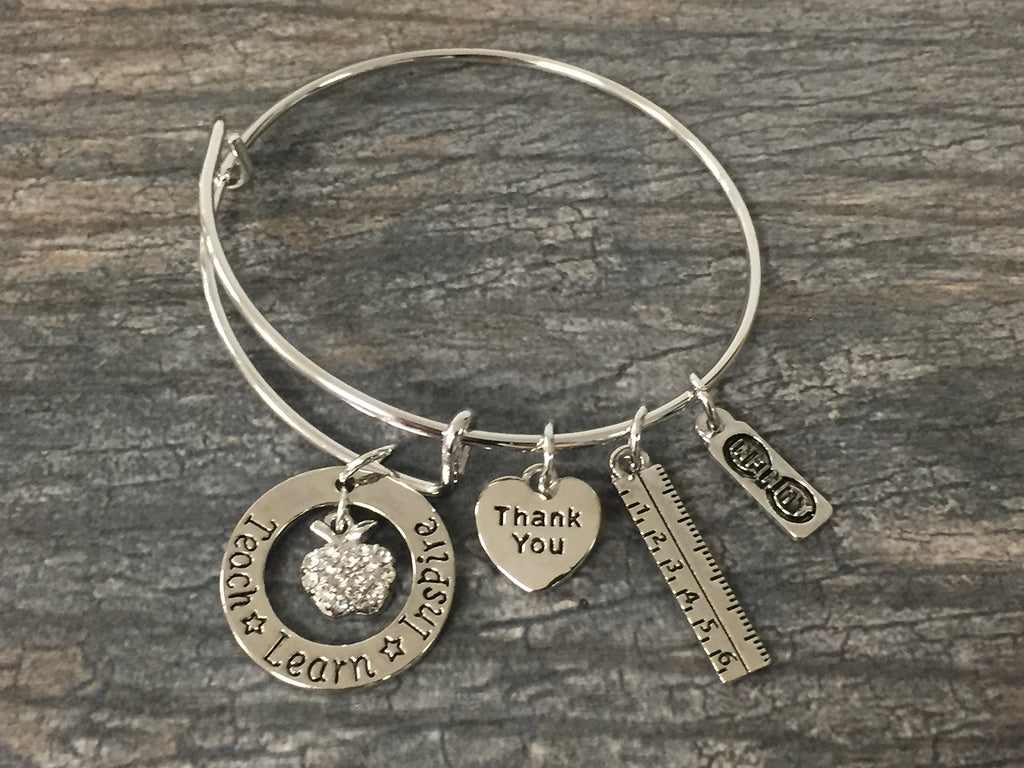 Teacher Bangle Bracelet- Teacher Jewelry, Teacher Gift