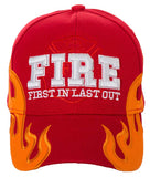 First in Last Out Fire Rescue Flames Baseball Cap with Adjustable Strap