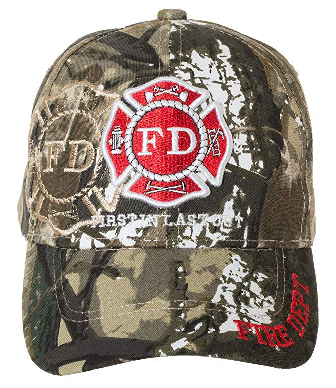 Fire Department First in Last Out Cap - Firefighter Gift -100% Cotton Embroidered Hat