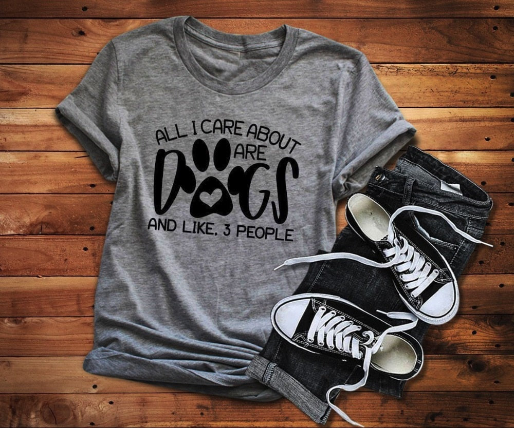 All I care about are dogs t-shirt dog mom funny paw graphic women fashion grunge tumblr aesthetic shirt casual goth tee art tops