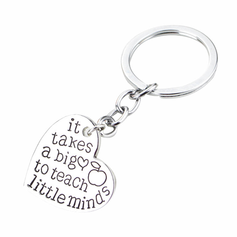 "Best Teacher Gift ""it takes a big to teach little minds"" Charm Love Heart Pendant Keychain"