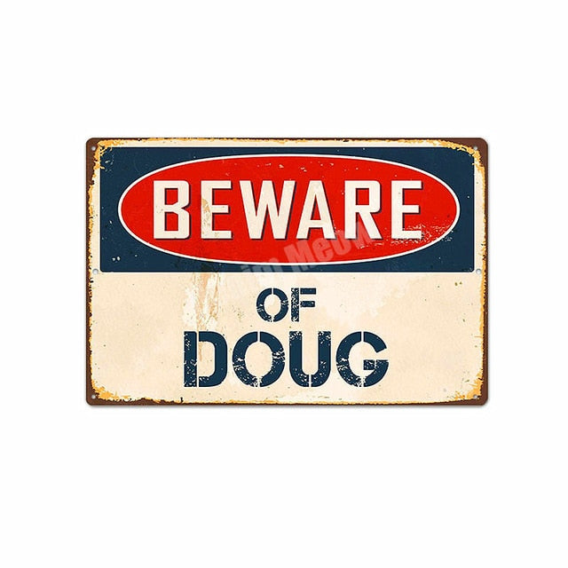 Beware of Dog Vintage Metal Tin Sign Home Decor Pub Cafe Club Bar Plates Dragon Doug Wall Decoration Poster Art Painting