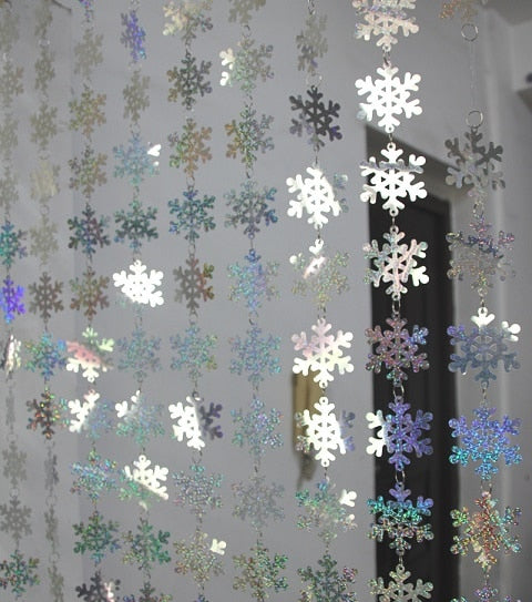 Christmas decoration Home curtain big snowflakes laser sequins PVC glitter sequins curtain Christmas tree ornaments