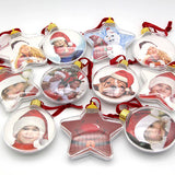 DIY Transparent Photo Frame Pendant Snowman Five-star Ball Xmas Tree Hanging Ornaments Christmas Decorations for Home