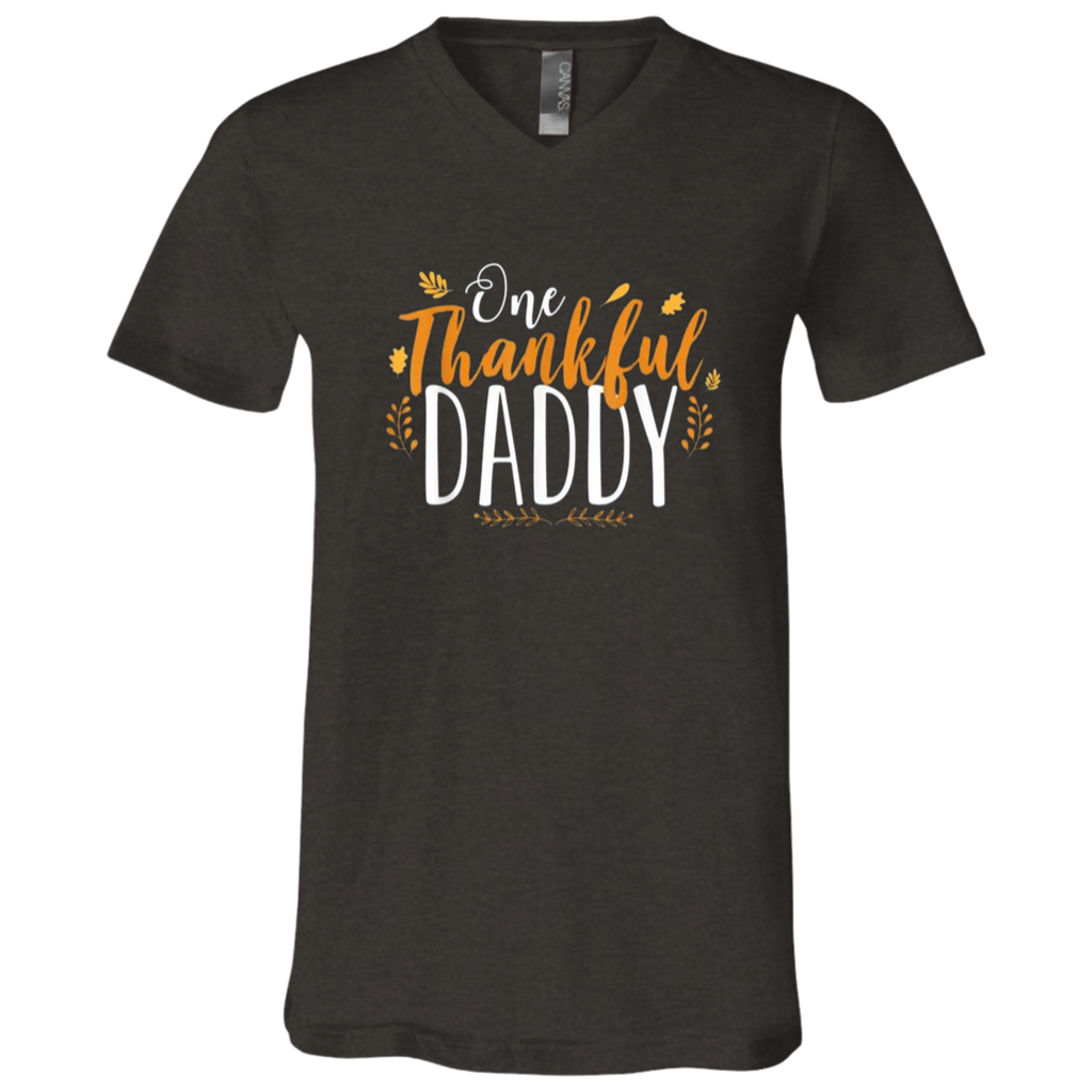 One Thankful DADDY 3005 Bella + Canvas Unisex Jersey SS V-Neck T-Shirt