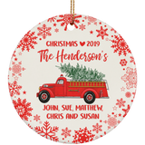 FIRE TRUCK CHRISTMAS Ceramic Ornament