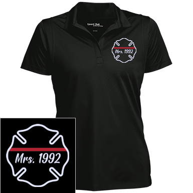 Firefighter Thin Red Line Number Personalized Sport-Tek Women's Micropique Tag-Free Flat-Knit Collar Polo