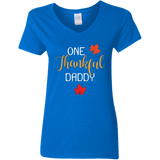 One Thankful DADDY G500VL Gildan Ladies' 5.3 oz. V-Neck T-Shirt