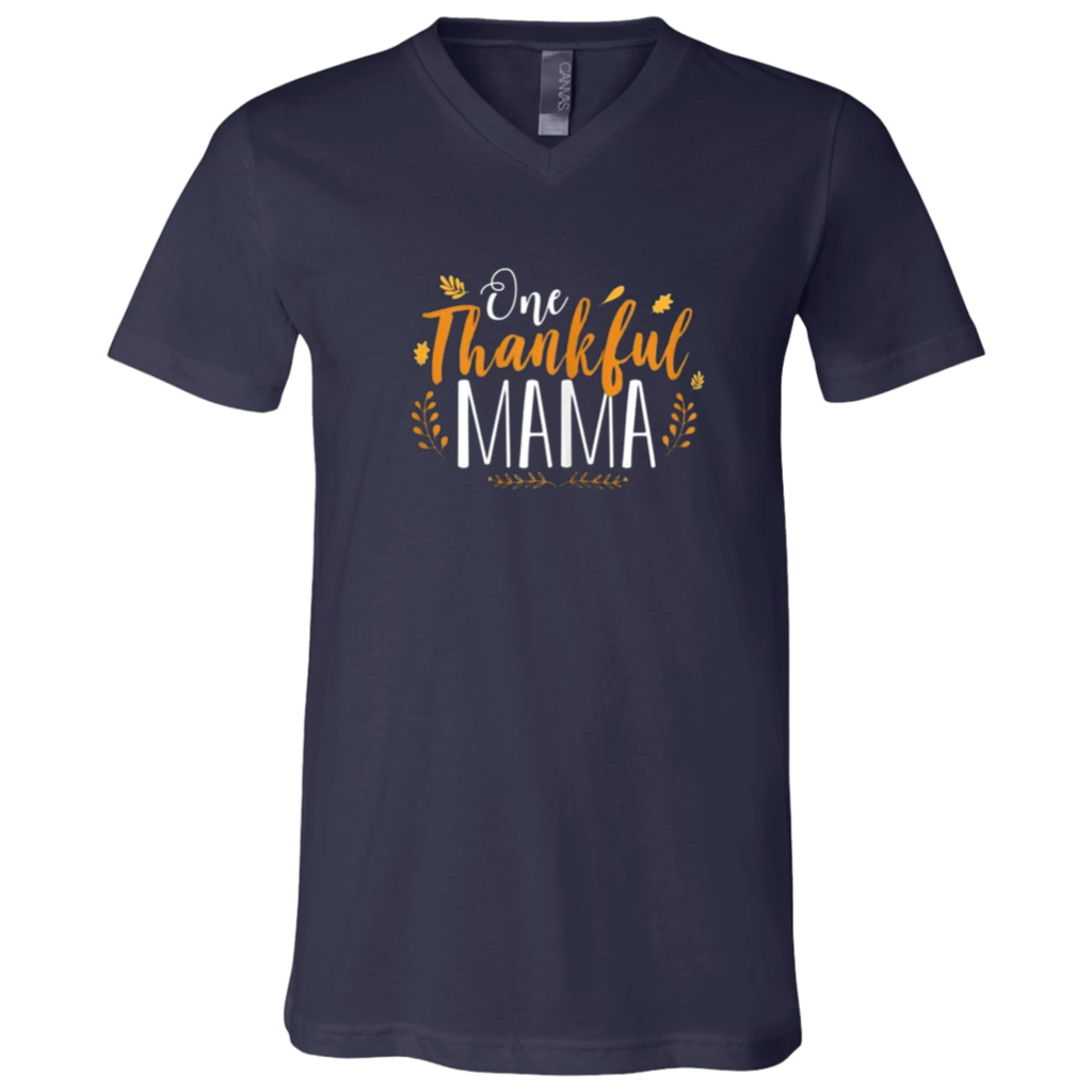 One Thankful MAMA 3005 Bella + Canvas Unisex Jersey SS V-Neck T-Shirt
