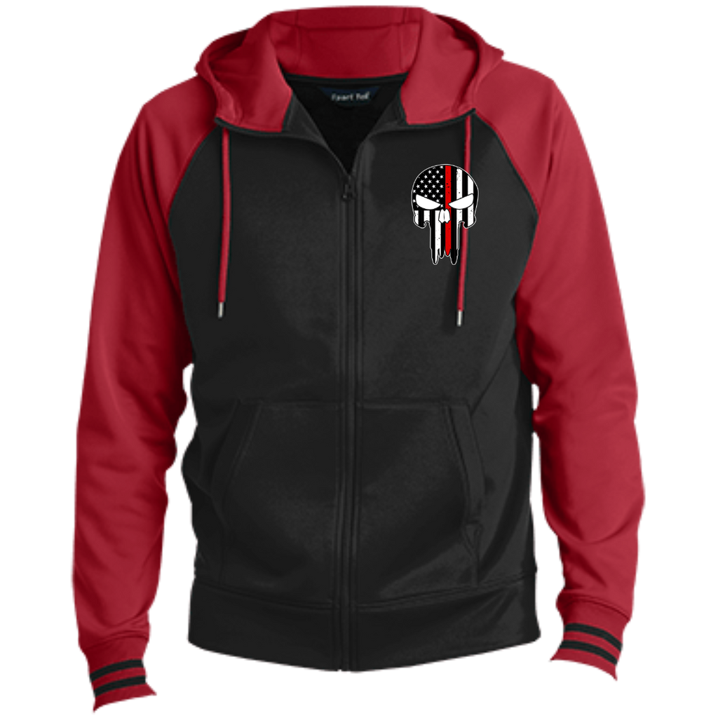 FIRE SKULL Firefighter Skull Embroidered  Full-Zip Hooded Jacket