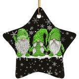 Hanging With My Green Gnomies Ceramic Ornament