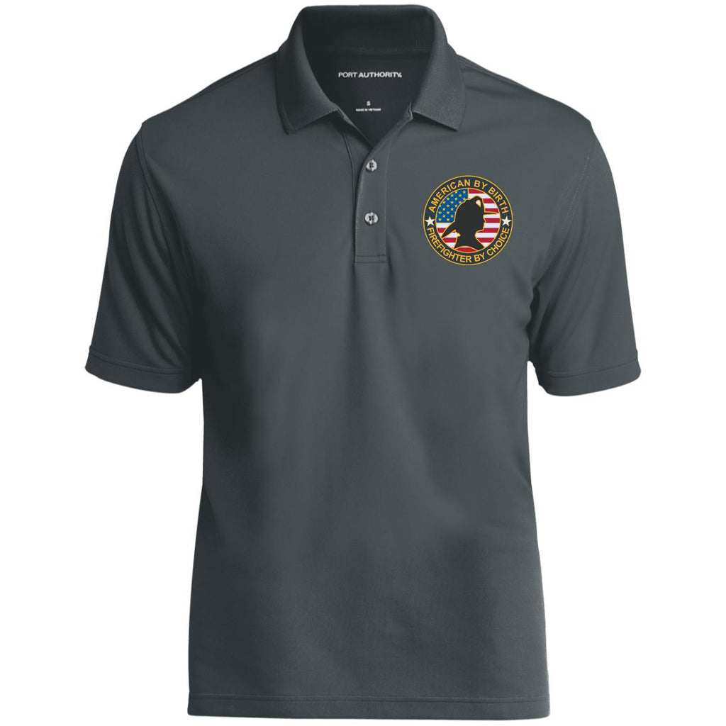 American By Birth Firefighter By Choice Female K110 Dry Zone UV Micro-Mesh Polo