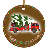 Merry Christmas Fire Truck With Christmas Tree Ceramic Circle Ornament